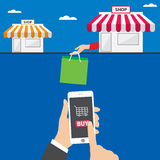 Mobile shopping apps on tablet or smartphone, vector illustration concept