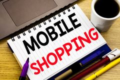 Mobile Shopping. Business concept for Cellphone online order written on notebook book on the wooden background in the Office with. Mobile Shopping. Business Stock Photo