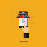 Mobile shopping. Business on line shopping and e-marketing on mobile. Shop on line. Flat  illustration Royalty Free Stock Image