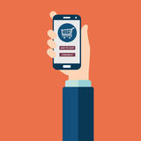 Mobile shopping. Button. Flat design vector illustration