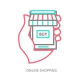 Mobile shopping button, line design Stock Photography