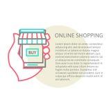 Mobile shopping button, line design Stock Image