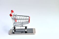 Mobile With Shopping Cart  Royalty Free Stock Image