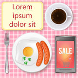 Mobile shopping concept with copy space. Shopping online. Internet shopping while having one's meal. Cartoon vector illustration of breakfast table with Stock Photography