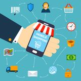 Mobile shopping concept Royalty Free Stock Photos