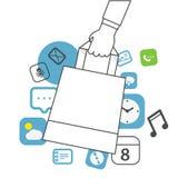 Mobile shopping concept Stock Photos