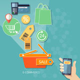 Mobile shopping e-commerce concept internet shopping 24 hours. Store human hand smart phone flat vector Stock Images