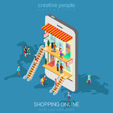 Mobile shopping e-commerce online store flat vector isometric