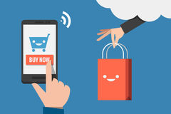 Mobile shopping flat design Royalty Free Stock Photography