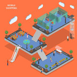 Mobile shopping flat isometric vector concept. Stock Image