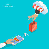 Mobile shopping flat vector concept. Stock Image