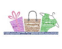 Mobile shopping icon design isolated on white Royalty Free Stock Image