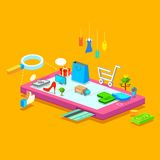 Mobile Shopping. Illustration of online shopping concept on mobile phone stock illustration