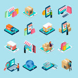 Mobile Shopping Isometric Icons Set Stock Photography