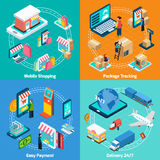 Mobile Shopping Isometric 2x2 Icons Set Royalty Free Stock Image