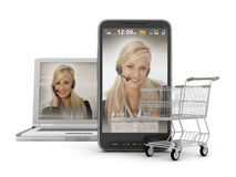 Mobile shopping - On-line Support Royalty Free Stock Photo