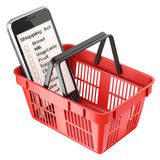 Mobile with shopping list in red shopping basket Stock Photo
