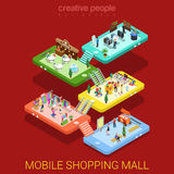 Mobile shopping mall interior sale store flat isometric vector Stock Image