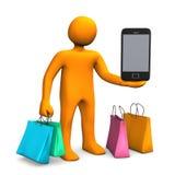 Mobile Shopping Manikin Stock Photo