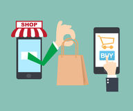 Mobile shopping online. The cartoon Business idea concept Royalty Free Stock Image