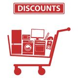 Mobile shopping trolley, icon mobile trolley with household appliances Royalty Free Stock Photography