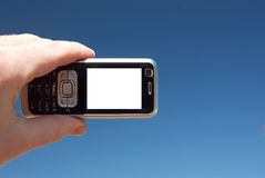 Mobile in the sky stock image