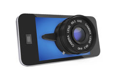 Mobile Smart Phone with Big Camera Lens. 3d Rendering Royalty Free Stock Image