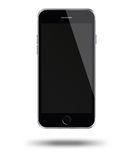 Mobile smart phone with black screen isolated on white background. Stock Photos
