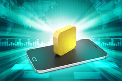 Mobile smart phone with chip Royalty Free Stock Images