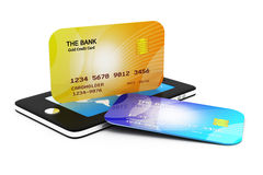 Mobile smart phone with credit card Stock Photo