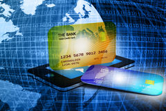 Mobile smart phone with credit card Royalty Free Stock Photo