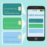 Mobile Smart Phone with Credit Cards. Internet Shopping and Electronic Payments Concept Royalty Free Stock Images