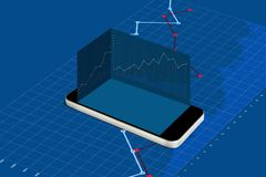 Mobile smart phone with empty blue screen and raising graph background. Making money on mobile phone, online stock market royalty free illustration