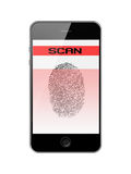 Mobile Smart Phone with Fingerprint of Thumb Isolated on White. Stock Images