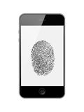 Mobile Smart Phone with Fingerprint of Thumb Isolated on White. Royalty Free Stock Photography