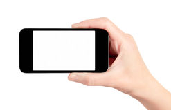 Mobile Smart Phone In Hand Isolated royalty free stock images