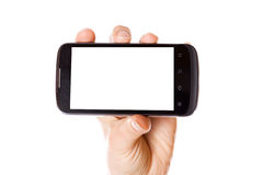 Mobile Smart Phone In Hand Isolated Royalty Free Stock Photos