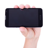 Mobile smart phone in hand isolated on white Stock Photography