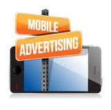 Mobile smart phone. Mobile advertising sign Royalty Free Stock Photo