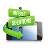 Mobile smart phone. Mobile solutions sign Royalty Free Stock Photos