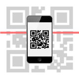 Mobile Smart Phone with QR Code Isolated on White Background. Stock Images