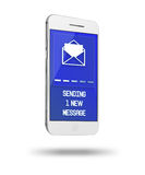 Mobile smart phone with screen showing inscription of sending me Royalty Free Stock Images