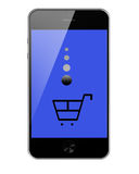 Mobile Smart Phone with Shopping Trolley Isolated on White Backg Royalty Free Stock Photos