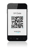 Mobile Smart Phone Showing QR Code Scanner Royalty Free Stock Photos