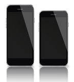 Mobile smart phones with black screen isolated on white backgrou Stock Photo