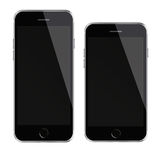 Mobile smart phones with black screen isolated on white background. Stock Photos