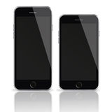 Mobile smart phones with black screen isolated on white background. Royalty Free Stock Photography