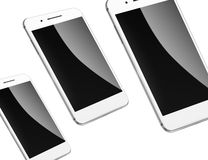 Mobile smart phones isolated on white. Stock Photos