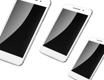 Mobile smart phones isolated on white. Stock Photo