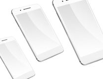 Mobile smart phones isolated on white. Royalty Free Stock Image